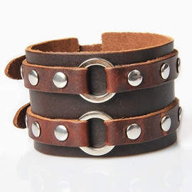Ericdress Personality Rivets Decorated Wide Men's Bracelet