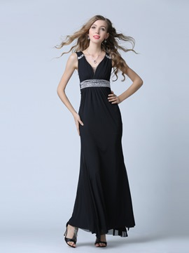 Ericdress V-Neck Sheath Beading Pleats Floor-Length Evening Dress