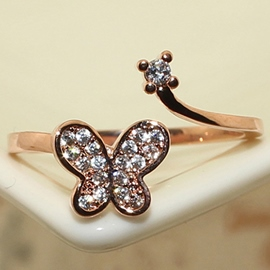 Ericdress Vogue Diamante Butterfly Open Ring