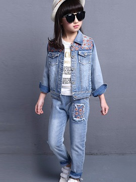 Ericdress Casual Denim Girls Pants Outfit