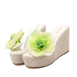 Ericdress Sweet Flower Wedge Slippers
