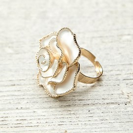 White Rose Design Ring