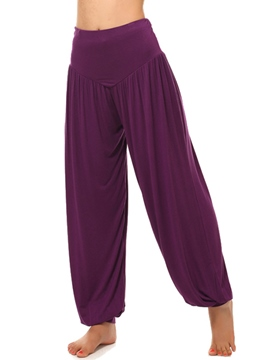 Ericdress Loose Solid Color Pleated Pants