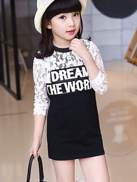 Ericdress Lace Patchwork Letter Girls T-Shirt