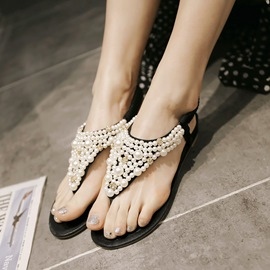 Ericdress Beaded Clip Toe Flat Sandals