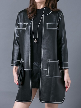 Ericdress Straight PU Trench Coat