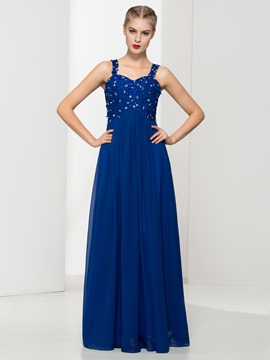 Ericdress Straps Appliques Beading Long Evening Dress