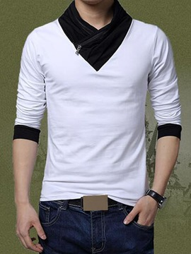 Ericdress Patchwork Zip Decorated Slim Men's T-Shirt