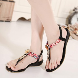 Ericdress Bohemian Elastic Band Thong Flat Sandals