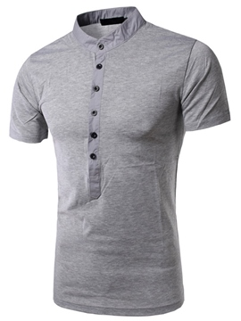 Ericdress Solid Color Stand Collar Casual Men's T-Shirt