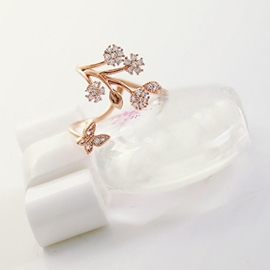 Ericdress Exquisite Branch With Star Zircon Open Ring