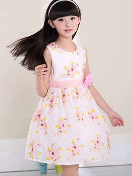 Ericdress Floral Print Girls Sleeveless Dress