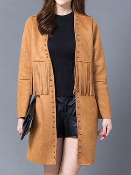 Ericdress Straight Tassel Trench Coat