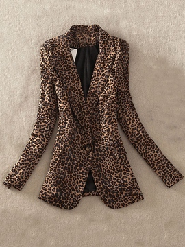 Ericdress Simple One Button Leopard Blazer