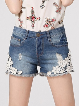 Ericdress Loose Lace Patchwork Denim Shorts