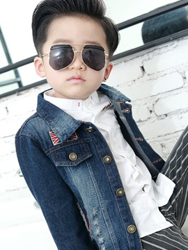 Ericdress Lapel Single-Breasted Denim Boys Jacket