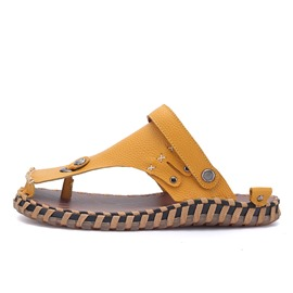 Ericdress PU Thread Thong Men's Sandals