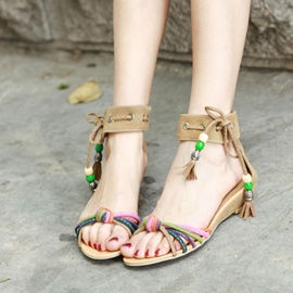 Ericdress Ethnic Lace up Open Toe Flat Sandals