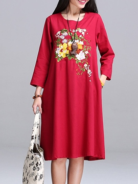 Ericdress Ethnic Cotton Loose Print Casual Dress