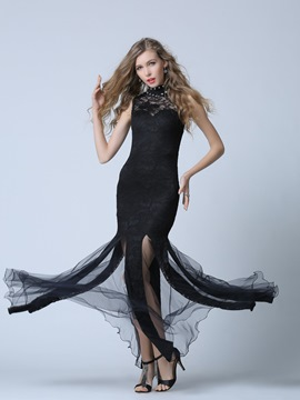 Sexy High Neck Beading Black Lace Evening Dress