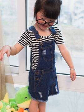 Ericdress Denim Girls Suspender Dress