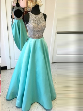 Ericdress A-Line Jewel Neck Beading Crystal Floor-Length Long Prom Dress