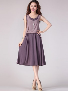 Ericdress Chiffon Patchwork Expansion Casual Dress