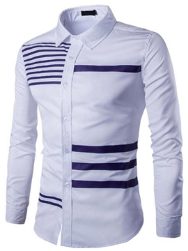 Ericdress Unique Stripe Long Sleeve Slim Men's Shirt