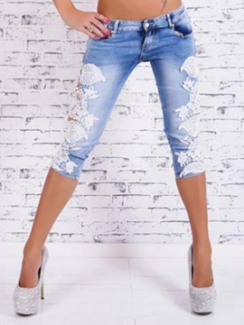 Ericdress Lace Patchwork Seven Points Jeans