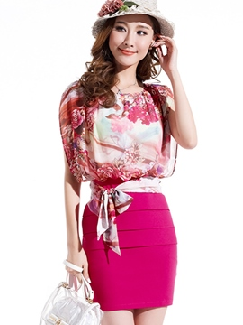 Ericdress Flower Print Patchwork Asymmetric Bodycon Dress