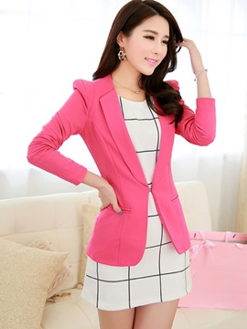 Ericdress Simple Lapel Buckle Blazer