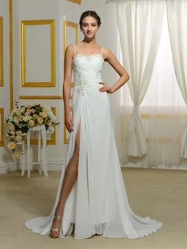 Ericdress Charming Spaghetti Straps Split Front Chiffon Wedding Dress