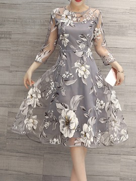 Ericdress Flower Print Three-Quarter Sleeve Expansion Casual Dress