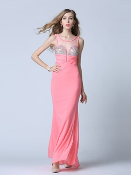 Ericdress Scoop Sheath Crystal Pleats Floor-Length Evening Dress