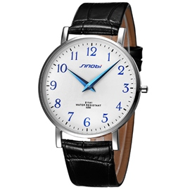 Circular Dial Leather Watch