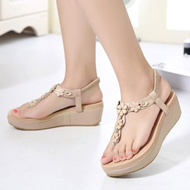Ericdress Elastic Band Appliques Wedge Sandals