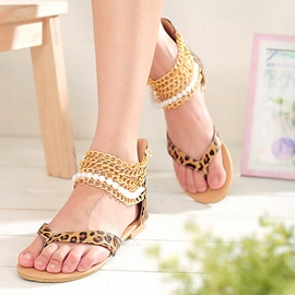 Ericdress Leopard Metal Chain Decorated Flat Sandals