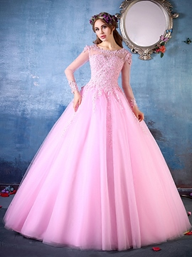 Ericdress Long Sleeves Scoop Ball Gown Appliques Beading Quinceanera Dress