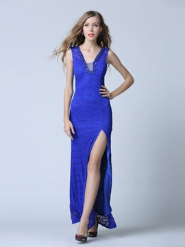 Ericdress Column V-Neck Lace Split-Front Evening Dress