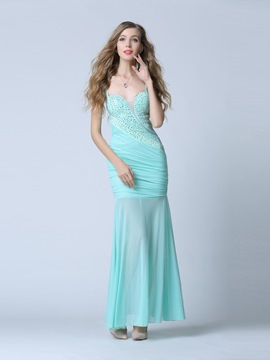 Elegant Sheath Straps Beading Pleats Long Evening Dress
