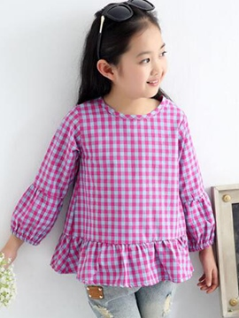 Ericdress Plaid Pleated Girls Dress