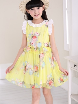 Ericdress Pastoral Print Girls Dress