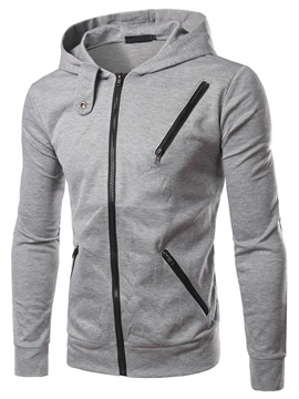 Ericdress Plain Multi-Zip Casual Men's Hoodie