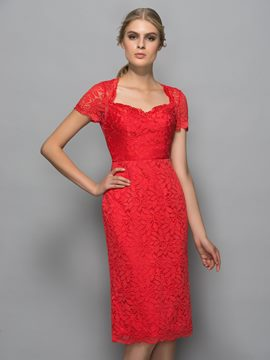 Ericdress Sweetheart Short Sleeves Backless Lace Cocktail Dress
