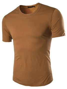 Ericdress Round Neck Plain Slim Men's T-Shirt