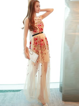 Ericdress Embroidery Sleeveless Maxi Dress
