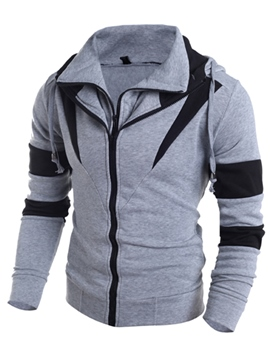 Ericdress Color Block Double-Layer Design Zip Men's Hoodie