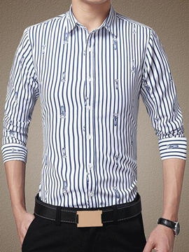 Ericdress Long Sleeve Stripe Slim Men's Shirt