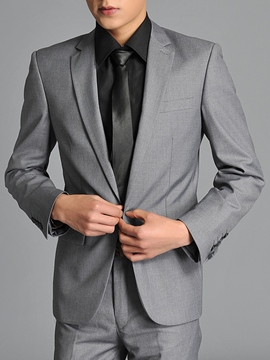 Ericdress Gray One Button Simple Slim Men's Suit