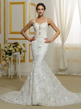 Ericdress Fantastic Sheer Back Lace Mermaid Wedding Dress